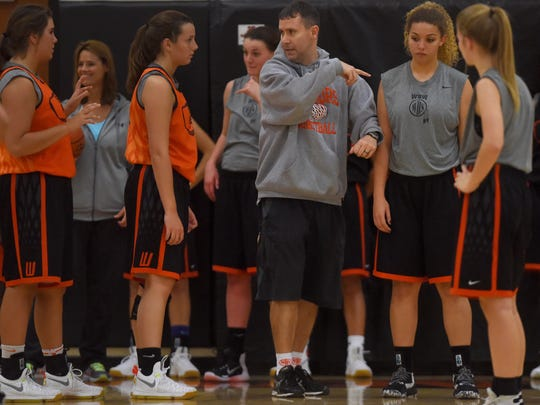 Sioux Falls Washington's head girl's basketball coach Jamie Parish leads practice on Wed., Dec. 9, 2016.