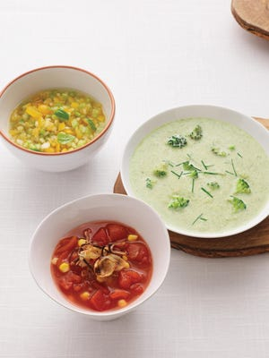 Yellow gazpacho (top left), Chunky tomato (center) and cream of broccoli (right) are all cold soups, which are perfect for the hot summers.