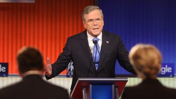 Jeb Bush speaks during the Republican debate on Jan.