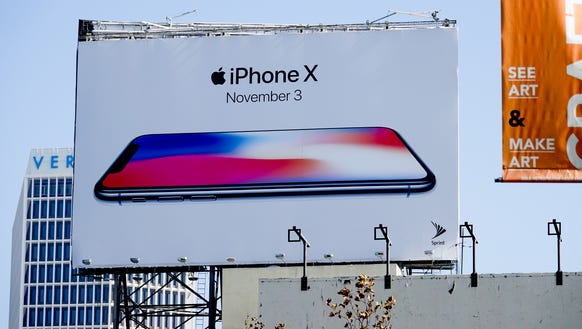 A billboard for the iPhone X in Los Angeles