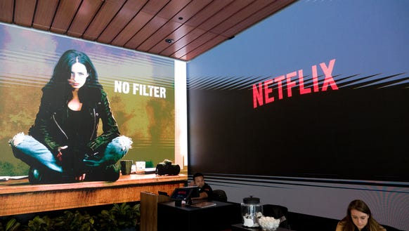 The front lobby of Netflix's offices in Hollywood at