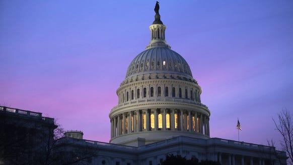 The U.S. Capitol dome at sunrise on Feb. 9, 2018.