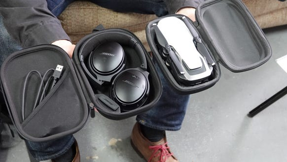 Comparing a drone to a pair of travel headphones