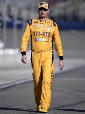 Kyle Busch, who drives the No. 18 Toyota for Joe Gibbs Racing, is tied for fourth in Cup points as of Saturday, April 2, 2016.