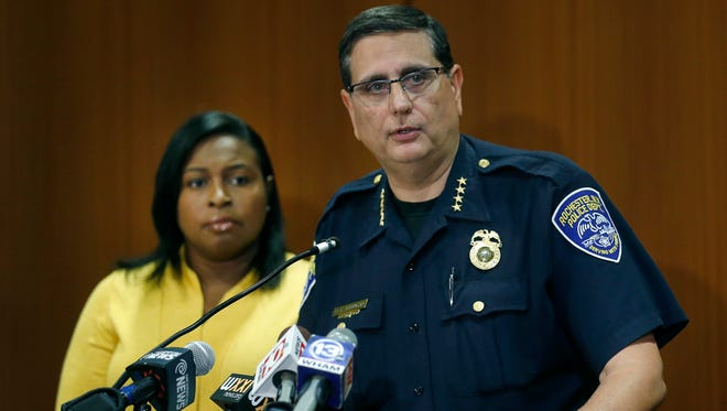 Mayor Lovely Warren and Police Chief Michael Ciminelli during a press conference regarding the shootings during a house party on Woodward St. in Rochester.