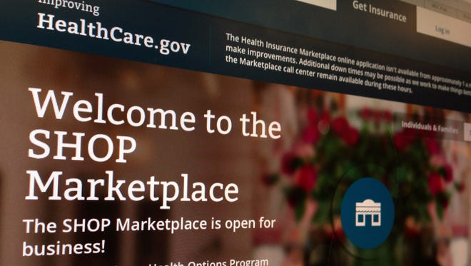 HealthCare.gov website page features information about the SHOP Marketplace.