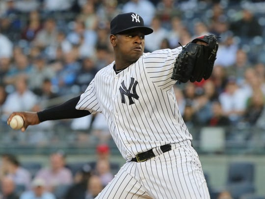 Luis Severino pitching in the first inning.