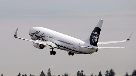 In this file photo from April 23, 2013, an Alaska Airline