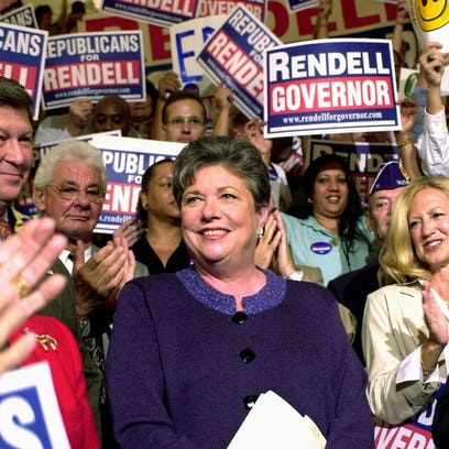 Pennsylvania Republican state Treasurer Barbara Hafer appears at a 2002 rally in the State Capitol Rotunda in Harrisburg, Pennsylvania.
