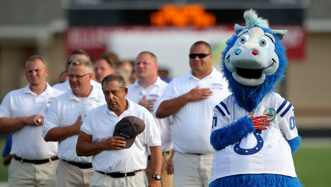 Indianapolis Colts Mascot Blue was playing for keeps in Minnesota on Tuesday.