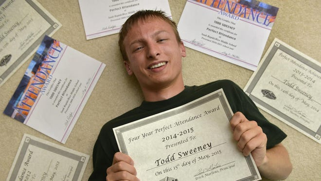 New Sauk Rapids-Rice High School graduate Todd Sweeney didn't miss a single day of his academic career. He's had some close calls, but through perseverance and a lot of luck, he didn't have a single sick day.