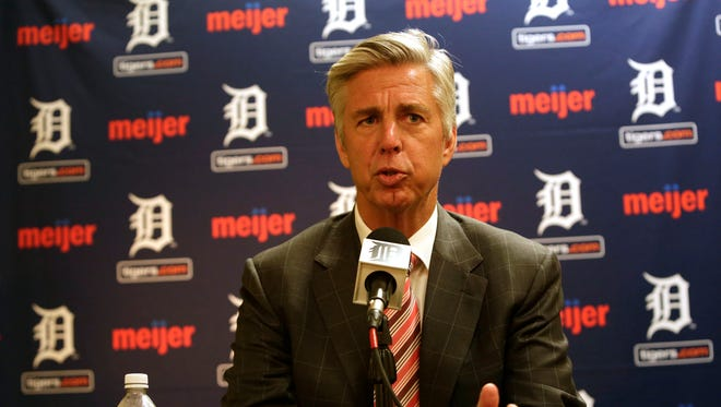 Detroit Tigers general manager Dave Dombrowski talks to the media Oct. 14, 2014.