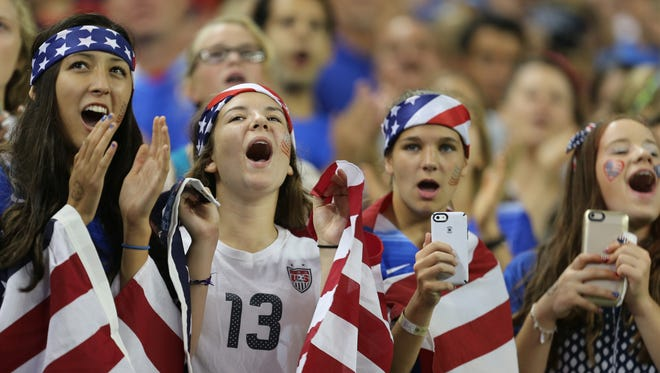 Young soccer fans show their support for the United States Women's National Team  during first half action International Friendly soccer match on Thursday, September17, 2015 at Ford Field in Detroit Michigan.