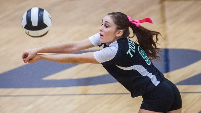 Yorktown's Jade York passes against Blackford during their sectional game at Delta High School Thursday, Oct. 22, 2015.