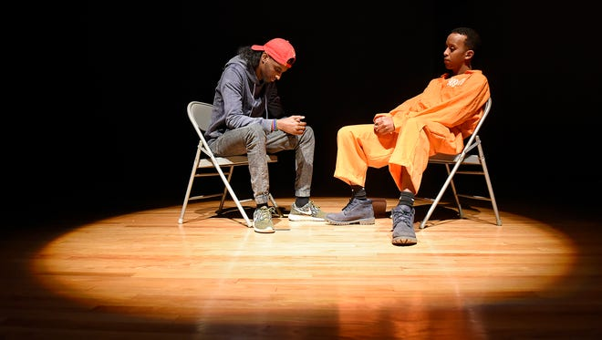 """Actors perform a scene from """"The Chronicles of the Diasporia"""" during a rehearsal Thursday at St. Cloud State University."""