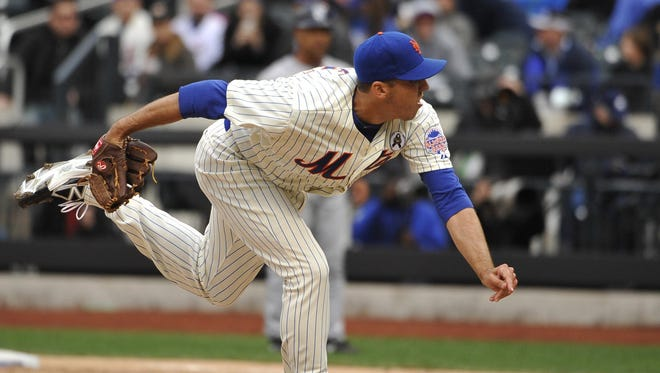 Scott Rice on the mound as relief pitcher for the New York Mets in their 2013 Opening Day game against the San Diego Padres. Rice is back in the Atlantic League after his two-season major league stint.