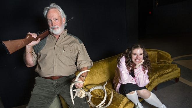 "Jake Gardner, left, portrays solider/hunter Harold Ryan and Stephanie Feigenbaum portrays the heaven-dwelling title character in ""Happy Birthday, Wanda June."" The opera adaptation of Kurt Vonnegut's play makes its world premiere on Sept. 16 at Butler University's Schrott Center for the Arts."
