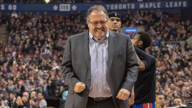 Detroit Pistons coach Stan Van Gundy reacts against the Toronto Raptors on Feb. 12, 2017, at Air Canada Centre.