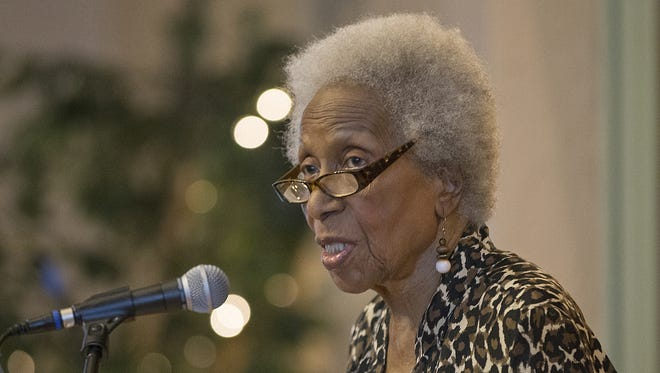 """Poet Mari Evans, shown  reading her poem """"Celebration,"""" died on March 10, 2016. Her funeral will be March 20 in Indianapolis."""