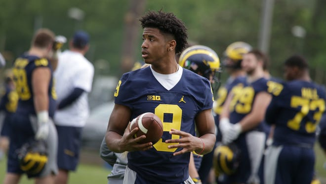 Michigan Wolverines receiver Donovan Peoples-Jones at practice in Rome on April 27, 2017.