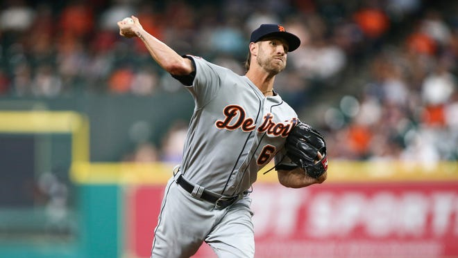 Shane Greene delivers a pitch in the seventh inning of the Tigers' 6-3 win over the Astros at Minute Maid Park on May 24, 2017 in Houston.