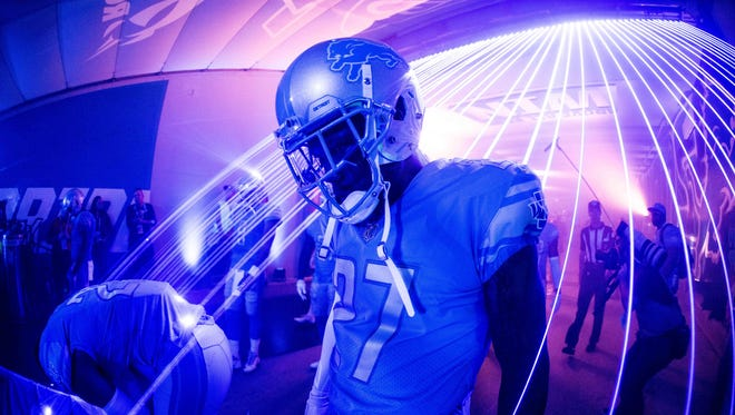 Lions safety Glover Quin stands in the tunnel at Ford Field before the game against the Falcons on Sept. 24, 2017.