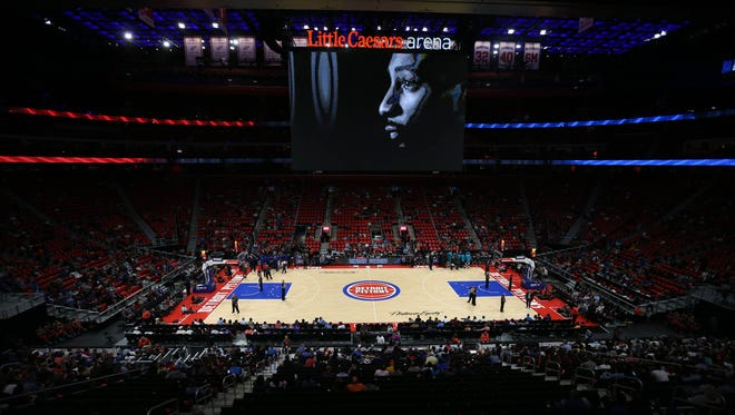 General view of the scoreboard and Pistons floor from the seats at Little Caesars Arena in Detroit, during the first-ever basketball game played at the arena Wednesday, Oct. 4, 2017.
