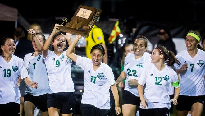 Yorktown celebrates defeating New Castle 1-0 in their sectional championship game at the Yorktown Sports Park Saturday Oct. 7, 2017.