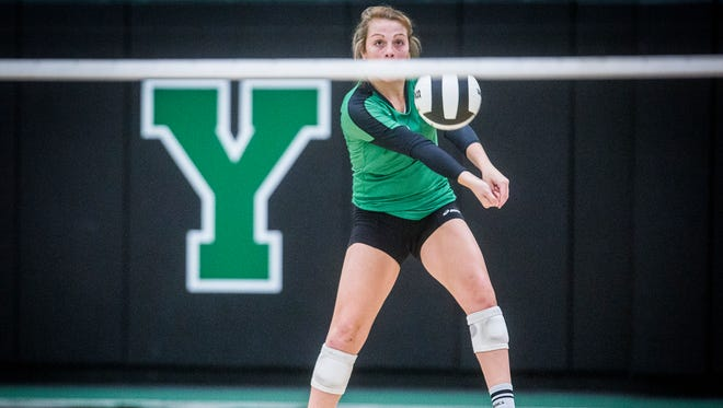 Yorktown's Kylie Murr passes against Central during their sectional championship game at Yorktown High School Saturday, Oct. 14, 2017.