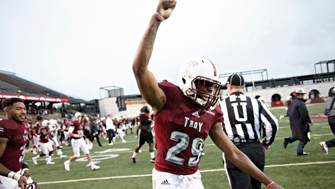 Tron Folsom also had a subdued celebration after Troy's win last year over Georgia Southern.