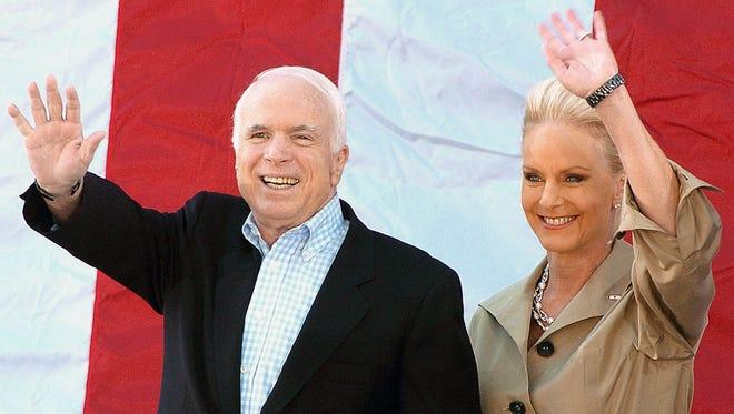 Sen. John McCain, with wife Cindy,  on April 5, 2008.