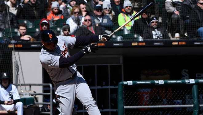Tigers first baseman Miguel Cabrera had three RBIs on Saturday against the White Sox in Chicago.