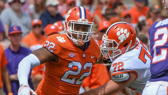 Clemson defensive end Xavier Kelly (22) during the spring game in Memorial Stadium in Clemson on Saturday, April 14, 2018.