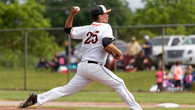 Brighton's Cameron Tullar pitched a three-hit shutout in a 3-0 victory over Howell in the district baseball championship game on Saturday, June 2, 2018.