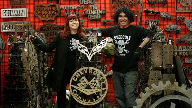 Len and Tina Von Speedcult are the founders of Speedcult, a metalworking shop, photographed on their compound in New Boston, MI on Wednesday December 9, 2015.