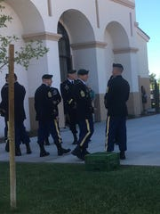 Army Special Forces personnel wait for Staff Sgt. Alex Conrad's funeral service to begin at the St. Juan Diego Church in Chandler on June 30, 2018.