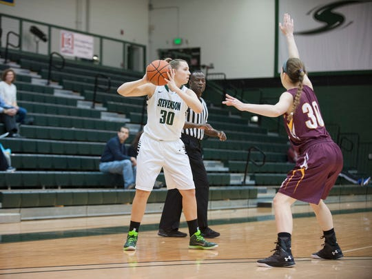 Kennard-Dale graduate Sara Tarbert is averaging more than 19 points and 11 rebounds this season for the Stevenson women's basketball team.