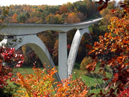 Fall colors are vibrant on the Natchez Trace Parkway's Birdsong Hollow overlook at Highway 96 in Williamson County.