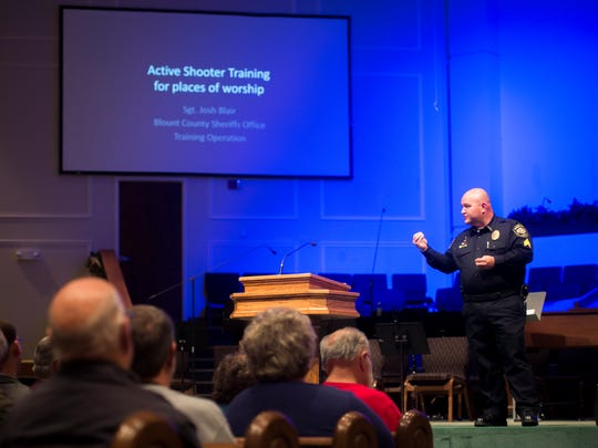 "Sgt. Josh Blair of the Blount County Sheriff's Office leads an ""Active Shooter Training for Places of Worship"" seminar at East Maryville Baptist Church on Monday, Nov. 27, 2017."