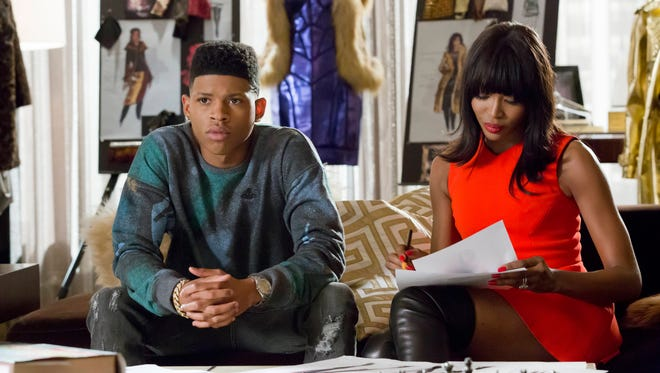 """Pictured L-R: Bryshere Y. Gray and guest star Naomi Campbell in the """"Death Will Have His Way"""" spring premiere episode of 'Empire.'"""