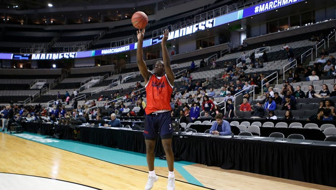March 22, 2017: Arizona Wildcats guard Rawle Alkins (1) during practice the day before the West Regional semifinals of the 2017 NCAA Tournament at SAP Center.