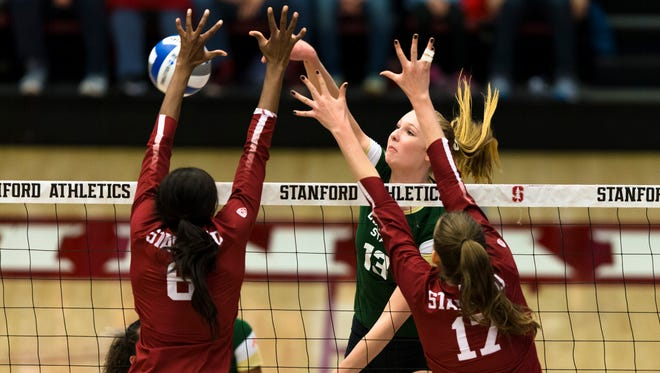 Colorado State University and Stanford University compete in the second round of the NCAA women's volleyball playoffs at Maples Pavilion.