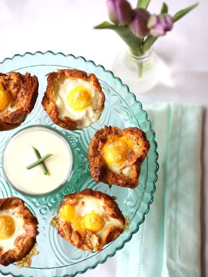 Baked Eggs in Croissant Nests with Dijon CreamPhotographed at the Great Lakes Culinary Center in Southfield.