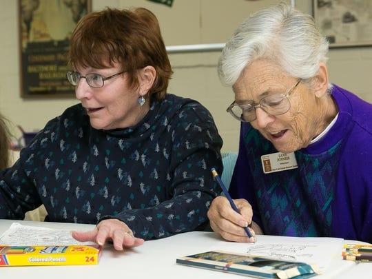 Gail Seifert, left, and Lois Joiner enjoy their time