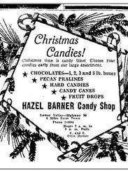 Barner's Candy 1947 Christmas advertisement.