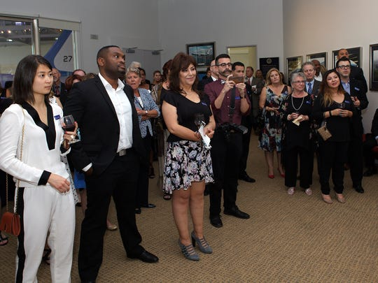 People gather during a meet and greet before the start of the United Way of Ventura County's 2016 Community Partnership Spirit Awards held at the Ronald Reagan Presidential Library.