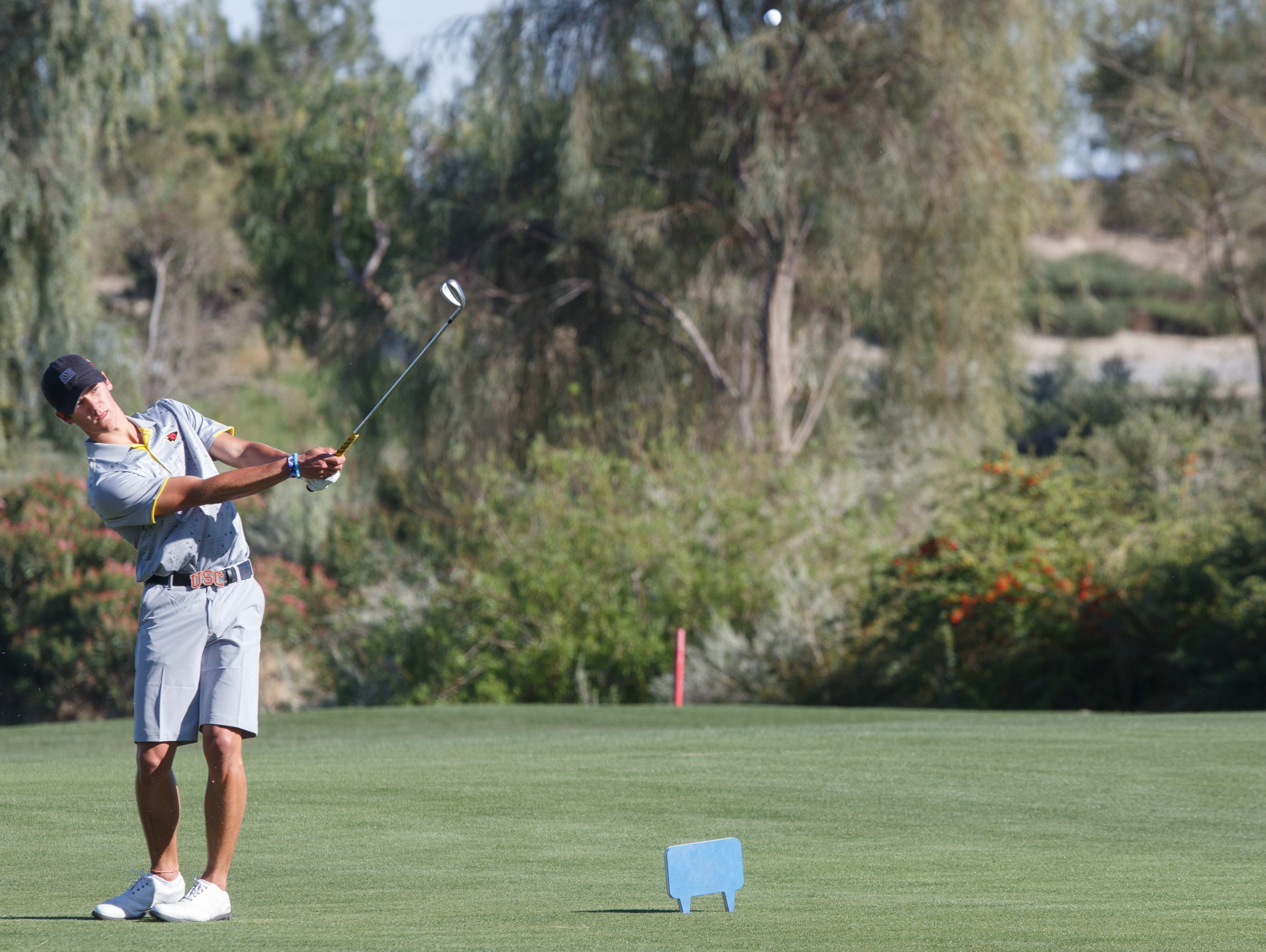 Charlie Reiter plays in a game against Xavier Prep at the Classic Club in Palm Desert, Calif., Tuesday, March 7, 2017.