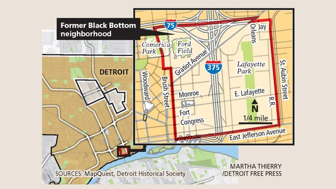 A map of the former Black Bottom neighborhood in Detroit.
