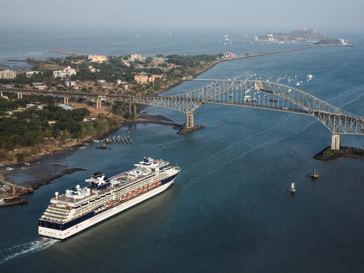 A Celebrity Cruises ship approaches the Bridge of the Americas at the Pacific entrance to the Panama Canal.