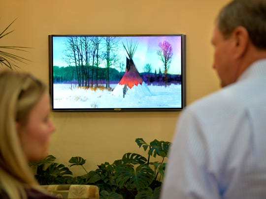 """R. Tom Gilleon's """"HUngry Fox Equinox"""" is a digital canvas displayed at Benefis Sletten Cancer Institute."""